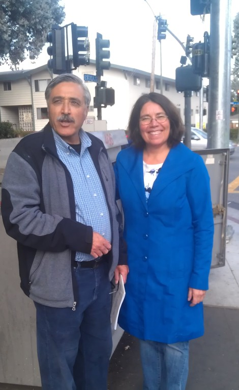 Elana Pacheco and Sayed Fakhry in front of the Electrical Box for the new Streetlight.