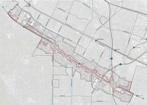 The plan area encompasses 222 acres and runs the entire 3.9-mile length of the El Camino Real corridor in Mountain View. The plan area includes the majority of parcels fronting El Camino Real plus additional parcels adjacent to the corridor.